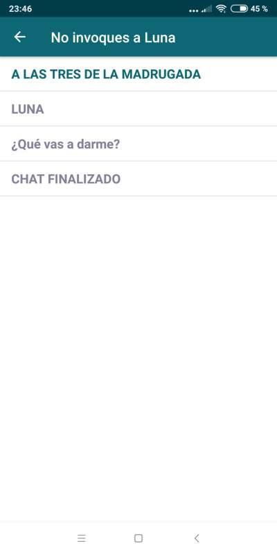 "Listado de capítulos de ""No invoques a Luna"", mi primera Chat Story en Leemur"